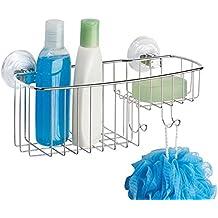 mDesign Organizador de ducha para colgar de acero – Estante para ducha extragrande para champú,
