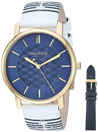 Nautica Women's 'Coral Gables Box Set' Quartz Stainless Steel and Nylon Casual Watch, Color:White (Model: NAPCGS008)
