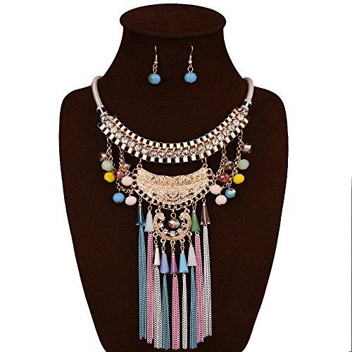 eshion Jewelry NUOVO STILE Handmade alla moda girocollo con collana in pelle cavo di corda in metallo set di gioielli con perline strass di cristallo
