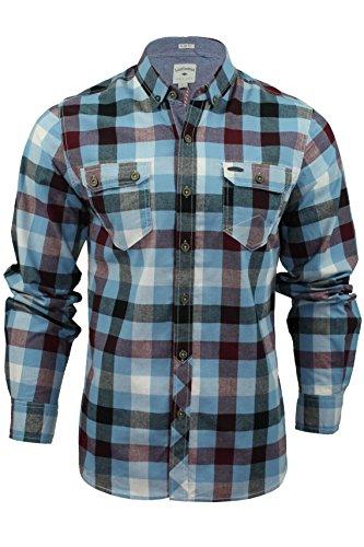 Mens Camicia a quadri di Lee Cooper 'Hadleigh' Maniche lunghe (Crepuscolo Blu) L