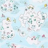 Hellblauer Stoff mit Inseln und Meer von Dear Stella