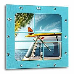 3dRose dpp_183001_1 Segments of Vintage Van Wall Clock, 10 x 10
