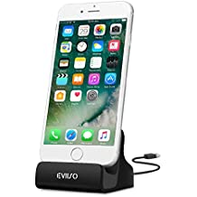 iPhone 7 Dock Docking Station ,EVIISO Lightning Dock Station con Cavo Lightning spina Caricabatterie La trasmissione dei dati Caricatore Supporto Per iPhone 7 / 7 Plus/ 6 / 6 Plus / 6s / 6s Plus / 5s / 5 / 5c / SE (Nero)