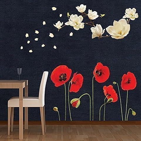 Walplus Amovible autocollant Mural Petit Format Blanc Magnolia avec Coquelicot Rouge Fleurs Décoration Art Salon Maison Restaurant café Hôtel Nurserie