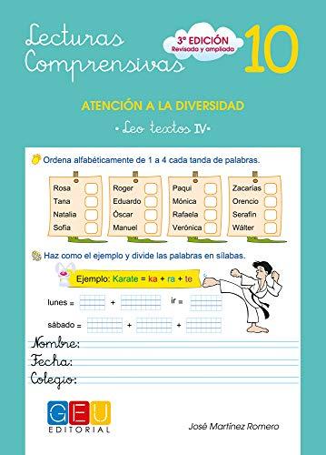 Lecturas comprensivas 10 - Leo Textos IV por José Martínez Romero