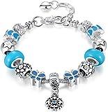 anewish Bracciale da Donna Blu Charms Ciondolo a Forma di Fiore & Farfalla Beads - Gioielli alla Moda , 20cm