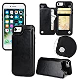Long Love Apple Iphonex Mobile Shell 7/8Plus Crazy Horse Sticker Protective Case S9 Magnetic Buckle Multifunction Mobile Phone Case (iPhone 7/8, Schwarz)