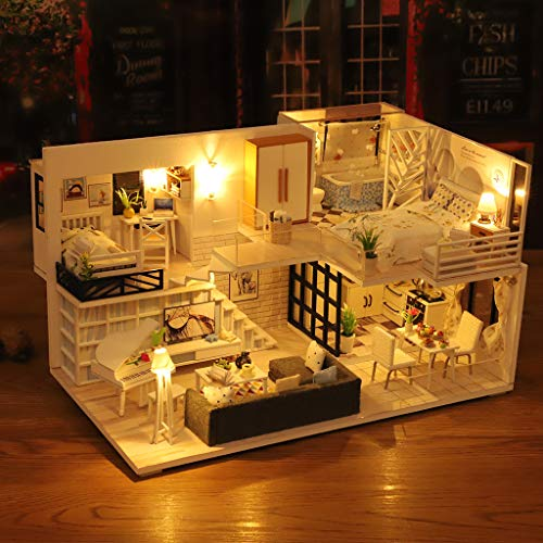 Schloss-loft (ToDIDAF Wooden Dollhouse 3D DIY Miniature House Furniture LED House Puzzle Educational Toy for Kid Birthday Valentine's Day for Bedroom Home Garden Decor - Mini Loft (No Dust Cover))