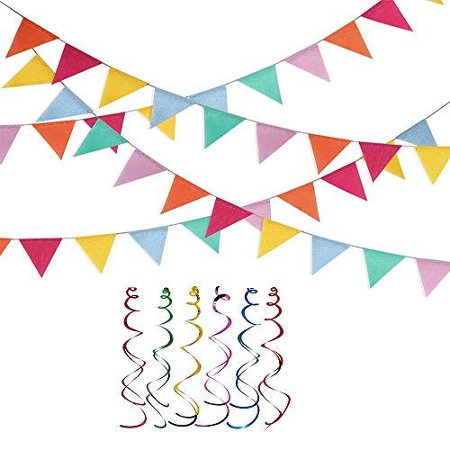 BSET BUY Wimpelkette, Mehrfarbig Wimpel, Bunting Banner für Geburtstag, Hochzeit, Outdoor, Indoor Aktivität, Party Dekoration 48 Pieces