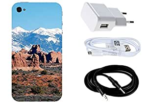 Spygen Apple Iphone 4/4S Case Combo of Premium Quality Designer Printed 3D Lightweight Slim Matte Finish Hard Case Back Cover + Charger Adapter + High Speed Data Cable + Premium Quality Aux