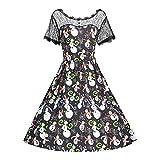 Kleider Damen Kleid 1950er Vintage Brautjungfernkleid Petticoat Kurz Ballkleid Kleiderbügel Hepburn, Kurzarm Weihnachten Schneemann Spitzenkleid Swing Dress(XXXXX-Large,1)