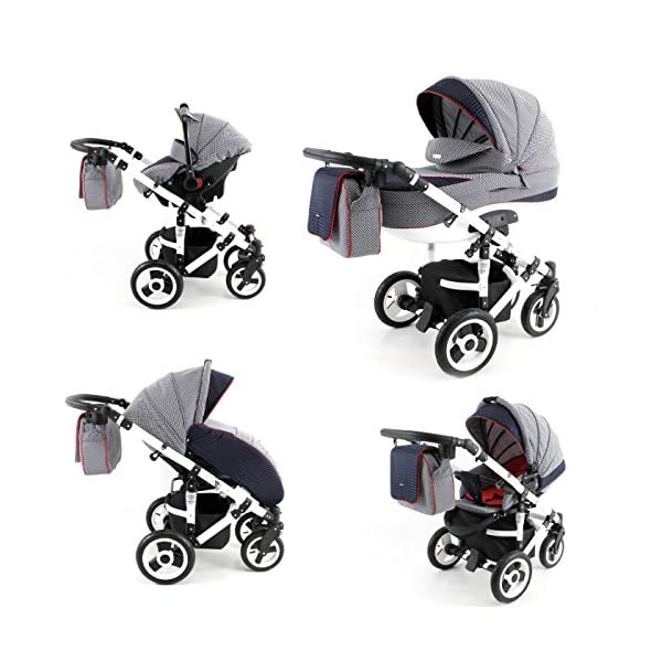 Lux4Kids Pram Stroller 3in1 2in1 Isofix Colour Selection Buggy Car seat Tor White Light Grey T-06 4in1 car seat +Isofix Lux4Kids Lux4Kids Tor 3in1 or 2in1 pushchair. You have the choice whether you need a car seat (baby seat certified according to ECE R 44/04 or not). Of course the car is robust, safe and durable Certificate EN 1888:2004, you can also choose our Tor with Isofix. The baby bath has not only ventilation windows for the summer but also a weather footmuff and a lockable rocker function. The push handle adapts to your size and not vice versa, the entire frame is made of a special aluminium alloy with a patented folding mechanism. 3