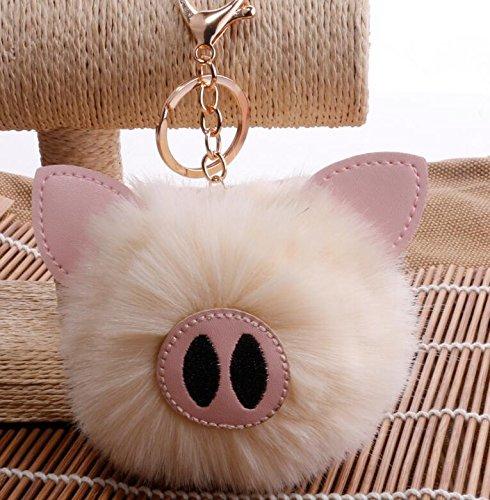 Mindruer Cute Pig Anhänger Tasche hängende Dekoration Schlüsselanhänger und Tasche Auto Geschenk weiß