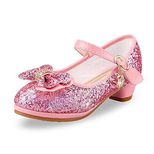 Anbiwangluo Zapatos de Lentejuelas de Niña Zapatos de Tacón Alto de Princesa...