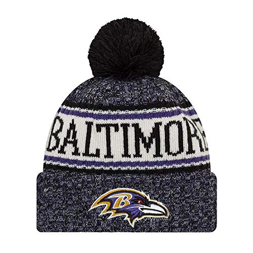 New Era ONF18 Sport Knit Bommelmütze Baltimore Ravens Schwarz Lila, Size:ONE Size - New Cap Era Ravens