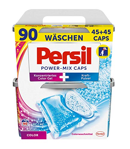 Persil Color Power-Mix Caps, vordosiertes Colorwaschmittel, 2-Kammer-Technologie, 1er Pack (1 x 90 Waschladungen) -