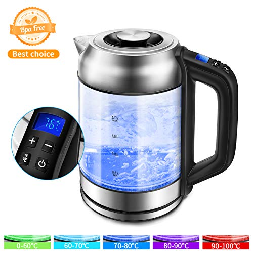 Morpilot Glas Wasserkocher Edelstahl,1.7 Liter Elektrischer Wasserkessel mit LED Innenbeleuchtung, Automatische Abschaltung Durch Strix Contoller, BPA Frei, Trockenlaufschutz, 2200W (Durchsichtig2)