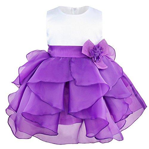 iixpin Mädchen Partykleid Baby Prinzessin Ärmellos Organza Blumenmädchenkleid Tutu Taufkleid mit Abnehmbarer Blume Brosche Hochzeit Festzug Lila 80-86(Nr. 75)
