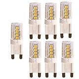OUGEER 6er Pack G9 LED Lampe, Kein Flackern, (3W, Ersetzt 30W Halogen), 300LM, Warmweiß 3000K, G9 LED Leuchtmittel Birne
