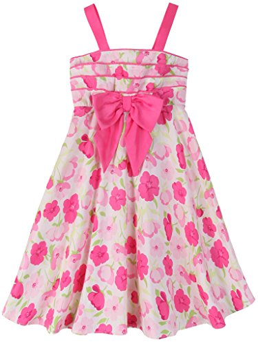 Bonny Billy Kleider des Mädchens Straps Blume Drucken Kinder Baumwolle Sommerkleid 120 Rosa (Princess Spitze-blumen-mädchen-kleid)