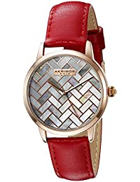Akribos XXIV Women's Rose Gold-Tone Mother-of-Pearl Mosaic Dial With Red Glove Style Genuine Leather Strap Watch...