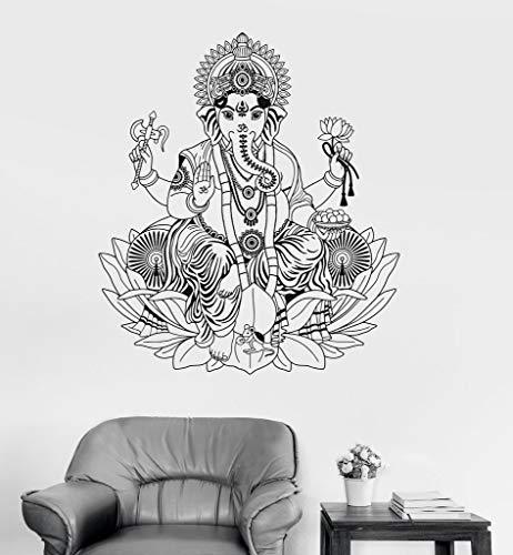 yuandp Vinyl Wandtattoo Ganesha Lotus Hinduismus Gott Hindu Indien Decor Wandaufkleber Elefanten Wandaufkleber Wohnkultur Living Roo 56 * 65 cm