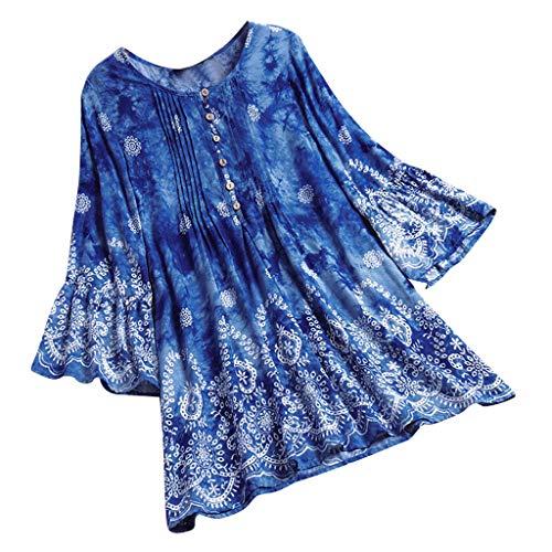 Fuibo Sommer Damen Elegant Vintage Blumenmuster Frauen Plissee Ethnic Print Tie-Dye 3/4 Ärmel Vintage Top T-Shirt Bluse Rundhals Falten Langes Bluse Oberteile (4XL, Sky Blue) (Blue Tie-dye Sky)