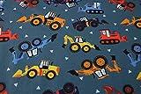 Qualitativ hochwertiger Jersey Stoff mit Bagger - Baufahrzeugen auf Jeansblau, Digitaldruck, als Meterware zum Nähen von Baby- und Kinderkleidung, 50 cm