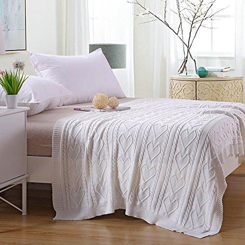 Baumwolle Wurf Decke Hand stricken für Couch Sofa Strand Stuhl Lounge Bett Hause dekorative weiche warme gemütliche gestrickte Decke - weiß (Dekoratives Wurfs-decke Für Sofa)
