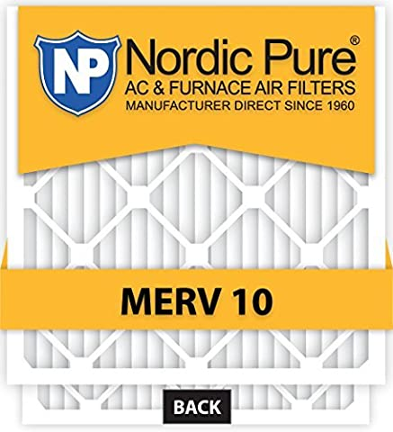 Nordic Pure 20x25x2 MERV 10 Pleated AC Furnace Air Filter, Box of 3 by Nordic Pure