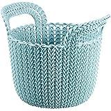 Curver 226386 Déco Panier Rond Tricot Plastique Bleu/Gris 23 x 19 x 18,5 cm 3 L