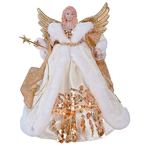 The Christmas Workshop 82050 12-Inch 30 cm Traditional Top Angel Christmas Tree, Cream/Gold by The Christmas Workshop