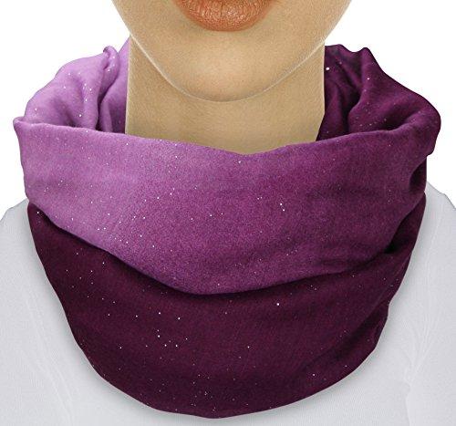 XXL Damen Farbverlauf GLITZER Schal leichter Schlauchschal Viele Farben (Aubergine/Rosa)
