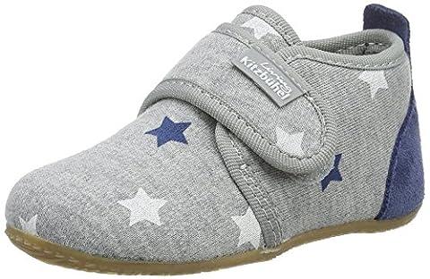 Living Kitzbühel Baby Jungen Klett mit Sternen Weiß/Blau Lauflernschuhe, Grau (Hellgrau), 28 EU