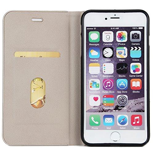 EKINHUI Case Cover Schöner eleganter magnetischer Verschluss PU-lederner schützender Abdeckungs-Fall mit Kickstand und Einbauschlitz für iPhone 6 Plus u. 6s Plus ( Color : Black ) Gray