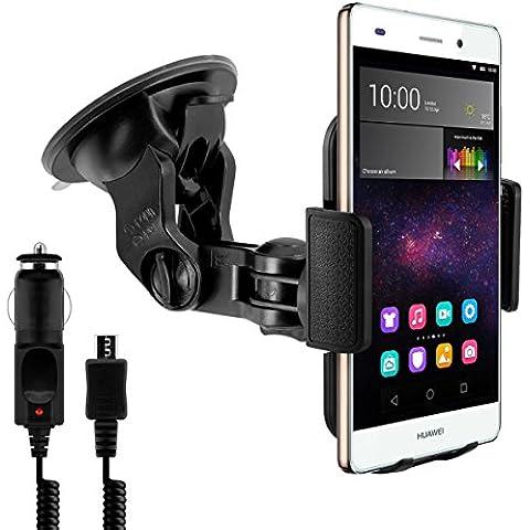 Supporto auto per Huawei P8 Lite + caricabatterie - Il cellulare entra perfettamente nel supporto senza dover rimuovere la custodia o l'involucro!