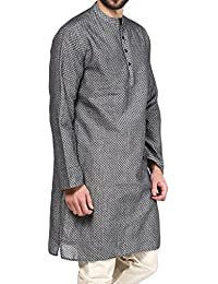 VIVIDS INDIA Men's Cotton Long Kurta (Grey , G-111 - $P)