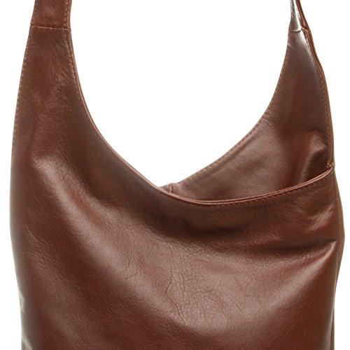 CASPAR TL764 Damen Umhängetasche Messenger Bag aus feinstem Nappaleder Braun