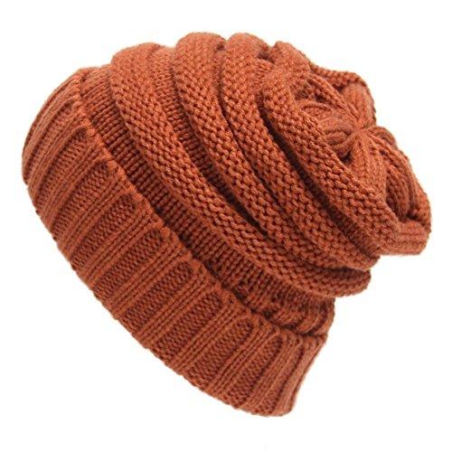 Tongshi Unisex Slouchy Tejer Beanie Hip Hop casquillo caliente del invierno del sombrero del esquí (naranja)