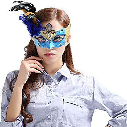 Schild Schleier schutzschirm Domino falsche frontmaske Halloween venedig Make-up Tanz halbes Gesicht Party Feder Maske königsblau,1 ()