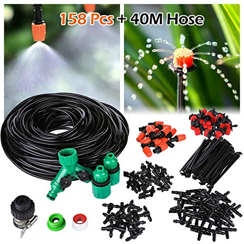 "OUTERDO 40M Micro Drip Irrigation Kit,Patio Plant Watering Kit Garden Mist Cooling Irrigation System Automatic Micro Flow Drip Watering System with Distribution Tubing Hose Adjustable Nozzle 1/4""Hose"