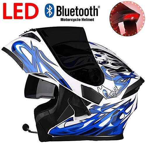 WWtoukui LED Cool Ghost Knight Flame Motorrad Bluetooth Helm, Fashion Front Flip Double Lens Antibeschlag- und UV-Schutz Offroad Integralhelm, DOT-Zertifizierung (Blue Fire),XXL:60~61cm Blue Fox Bluetooth