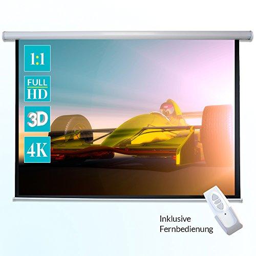 ivolum Motorleinwand - 240 x 240cm - 1:1 - elektrische Heimkino- oder Business-Leinwand - inkl. Fernbedienung und Montagematerial - einfache Montage