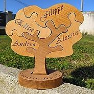 Albero Famiglia Puzzle in legno, oggetto originale unico fatto a mano in legno massiccio con i nomi della tua
