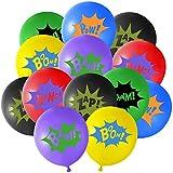 TUPARKA 36PCS 12 'Superhero Latexballons mit Superheld Comic Slogans für Kinder Party Supplies (Farbe Sortiert)