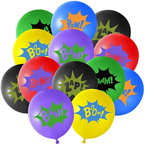 TUPARKA 36Pcs 6Farben Superhelden Party Ballons ,Multicolor Comic Slogans Ballons für Kinderpartys Geburtstag Superhelden Party Deko
