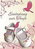 Einladungskarten Taufe Mädchen mit Innentext Motiv weiße Schuhe 15 Klappkarten DIN A6 mit weißen Umschlägen im Set Taufekarten mit Kuvert Einladung Taufe Mädchen rosa (K25)