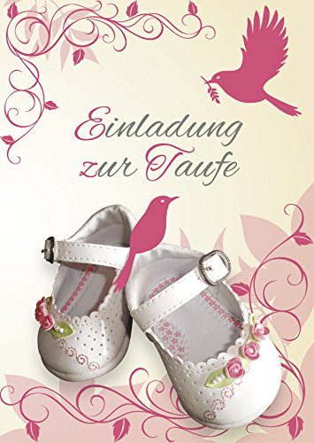Einladungskarten Taufe Mädchen mit Innentext Motiv weiße Schuhe 10 Klappkarten DIN A6 mit weißen Umschlägen im Set Taufekarten mit Kuvert Einladung Taufe Mädchen rosa (K25)