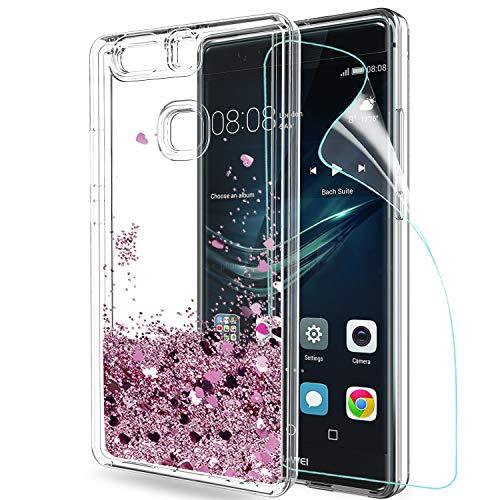 LeYi Hülle Huawei P9 Plus Glitzer Handyhülle mit HD Folie Schutzfolie,Cover TPU Bumper Silikon Flüssigkeit Treibsand Clear Schutzhülle für Case Huawei P9 Plus Handy Hüllen ZX Rot Rosegold