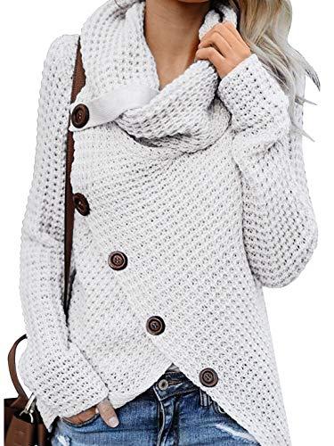 Yidarton Pullover Damen Warm Asymmetrische Strickpullover Rollkragenpullover Solid Wrap Gestrickt Langarmshirts Oberteile Causal Beige M
